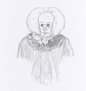 "illustration av Jonas Wessel: ""Pennywise"""