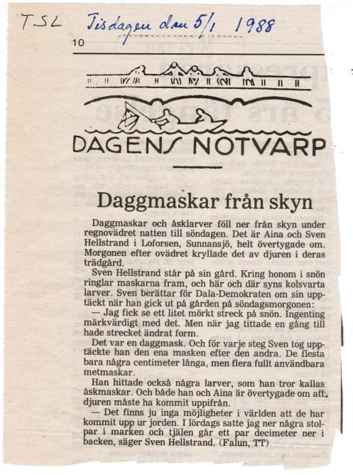 """Tidning för Skaraborgs Län (numera """"Mariestadstidningen"""") tisdagen den 5 januari, 1988"""